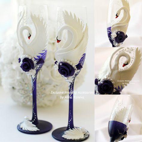 Шампанское флейты Белый Фиолетовый Эксклюзивные свадебные бокалы фужеры Сельский свадебный обычай Стаканы Свадебные бокалы для шампанского