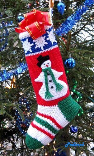 Милые сердцу мелочи от Podarok: Рождественский сапожок Снеговичок / Snowman Stocking