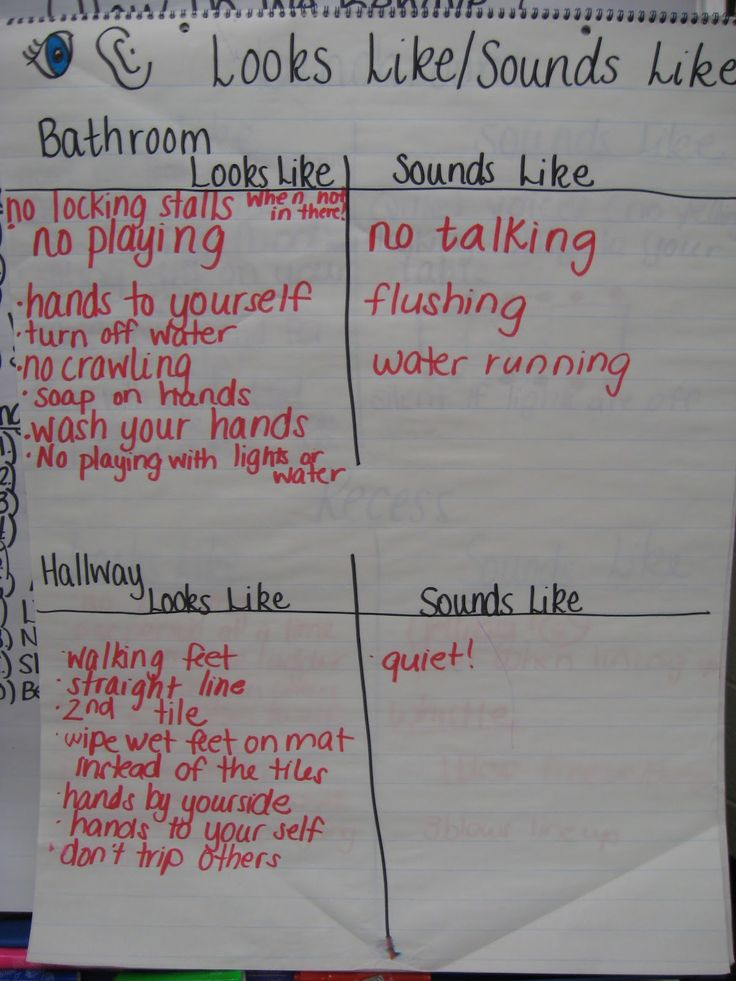 "Bathroom & Hallway rules - ""looks like/sounds like"" anchor chart (good for beginning of a new school year)."
