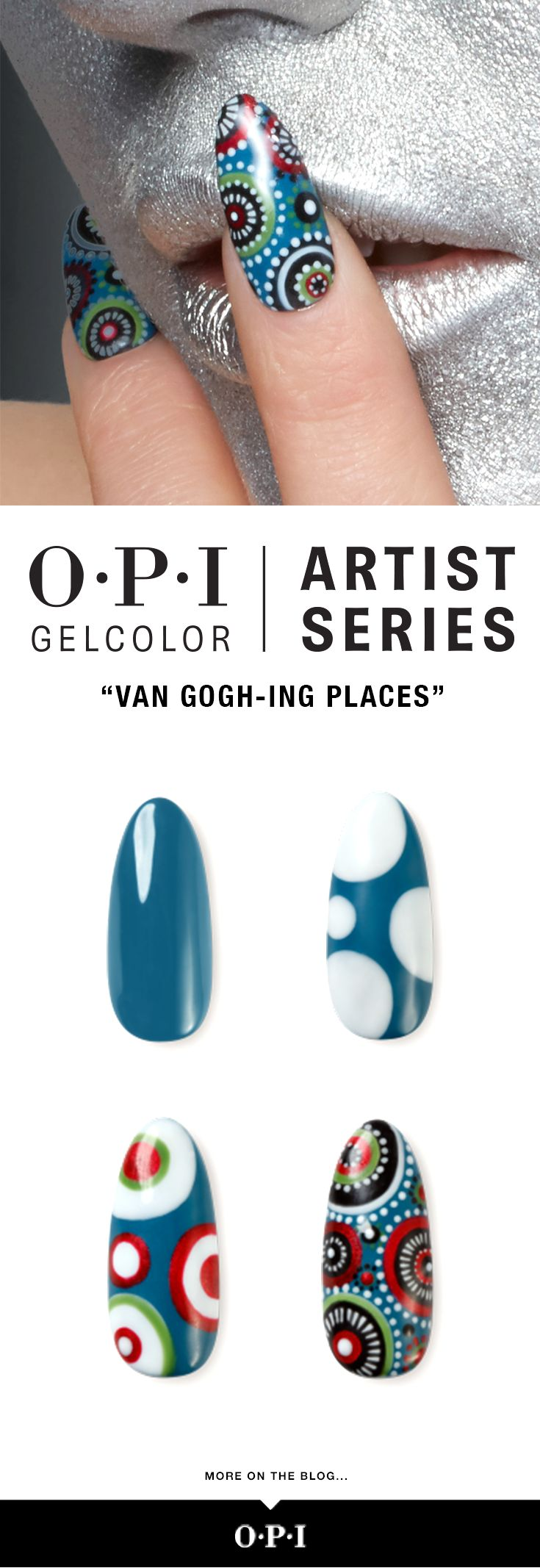 Unleash your creativity with our OPI Artist Series Design Gels. Recreate this look inspired by Van Gogh, full tutorial is on the blog.