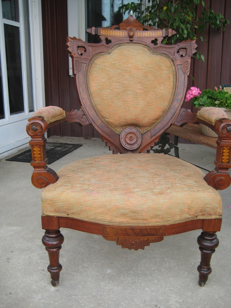 I bought this old chair from a teacher for $60 in oct 2009.Then I had it recovered by Ellenor Renaud from Rags to Riches.I invested another $700 and she did an outstanding job with my chair.I then had it appraised by an antique dealer from Kingville.She told me this is a Queen stlye chair from the 1800's.My chair now is worth $2000 to $3 000!I love the new material I picked.Looks elegant.It went from brown to crowned!