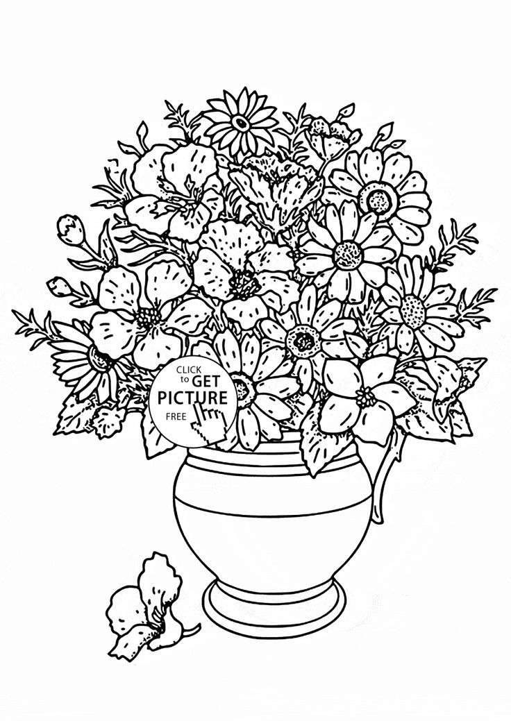 realistic bouquet of flowers in vase coloring page for kids flower coloring pages printables free
