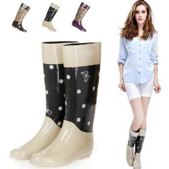 Amazon.co.jp: レインシューズ レインブーツ 雨靴 レディース 女性用 雨具 靴 ロング丈 ドット柄 水玉柄 hy403-yx14: 服&ファッション小物