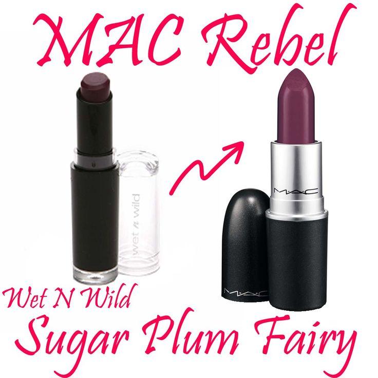 MAC Rebel Dupe! Wet n Wild Sugar Plum Fairy Mega Matte Lipstick. Really close dupe!