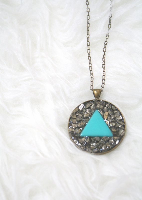 Long Vintage Turquoise Triangle & Pyrite Necklace, Natural Wonder Necklace by EclecticOrchid on Etsy, $45.00