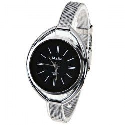 $5.00 MxRe Quartz Watch with Strips Hour Marks Steel Watch Band for Women - Black