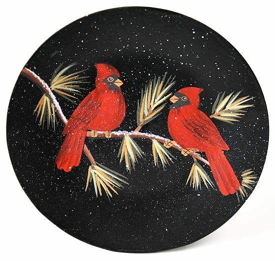 primitive red cardinals plate red cardinals in pine plate to compliment your christmas holiday and winter decorating
