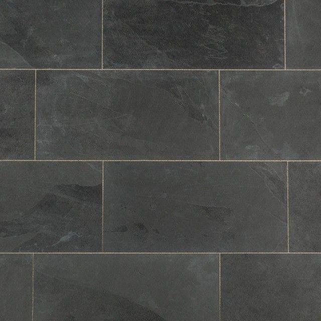 "Janeiro Slate Tiles Montauk Black, Slate, Sawn, Natural, 12""x24"", Set of 10 modern-wall-and-floor-tile"