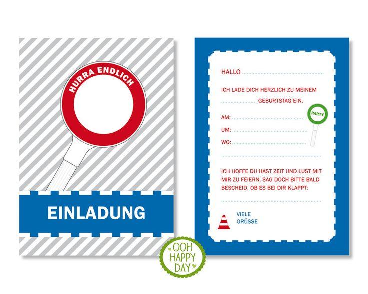 Einladungskarten - Polizei 6 individuelle Einladungen Geburtstag - ein Designerstück von OOH-HAPPY-DAY bei DaWanda