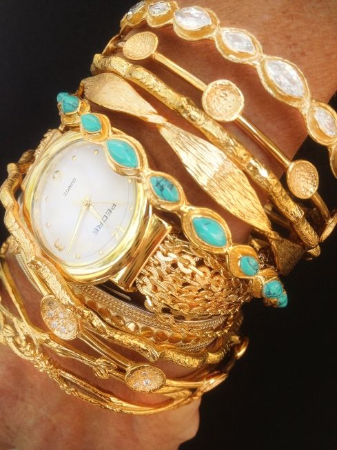 gold and turquoise, my obsession : Arm Candy, Gold Rush, Gold Bracelets, Stacking Bracelets, Jewelry Trends, Gold Watches, Gold Jewelry, Arm Parties, Gold Bangles