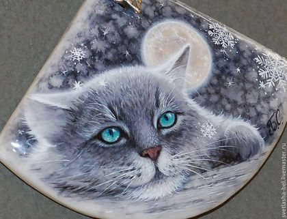 сНежности... Кот.. - серый,лаковая миниатюра,живопись маслом,живопись на камне