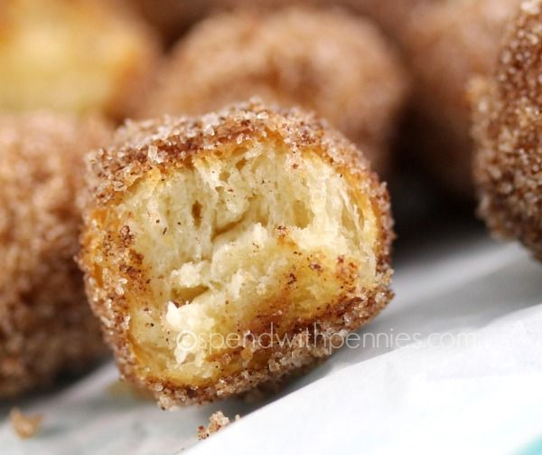 3 Ingredient Mini Cinnamon Donut Holes Mini bundles of soft warm dough covered in cinnamon sugar! Love it? Pin it to SAVE it! Follow Spend With Pennies on Pinterest for more great recipes! These little yummies taste just like those mini cinnamon sugar donuts you get at the fair… only with no line ups!! Just 3 easy ingredients and these babies are ready to go! I played with many different methods.. the smaller size just made better donut holes. They cooked {Read More}