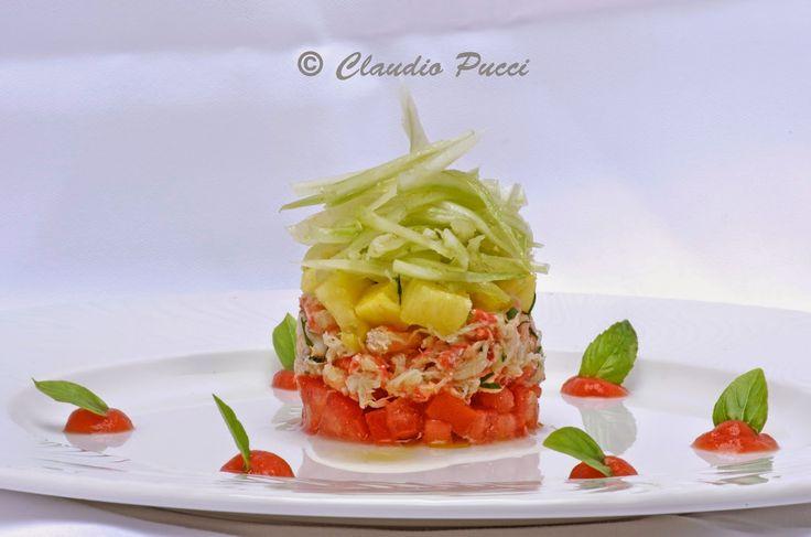 Insalata di polpa di granchio com pomodoro,ananas e sedano | Ricetta ed ingredienti dei Foodblogger italiani