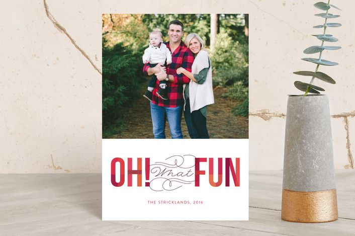 """""""Oh! What Fun"""" - Abstract, Bold typographic Holiday Postcards in cherry by Ann Gardner."""