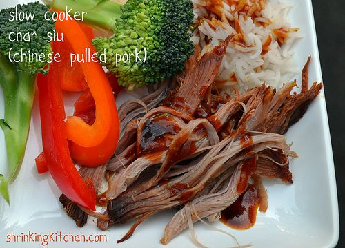 Slow Cooker Char Siu -Chinese BBQ Pulled Pork - is melt in your mouth delicious  pairs perfectly with a little rice and some quick stir fried veggies!  shrinkingkitchen.com #healthy #slowcooker #easy #pork #pulledpork