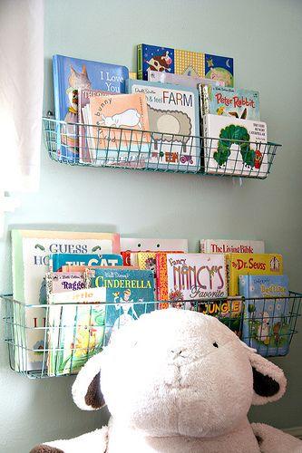 Nurser Ideas | Wire Book Baskets  http://www.recipeforcrazy.com/2010/10/sweet-ps-nursery.html