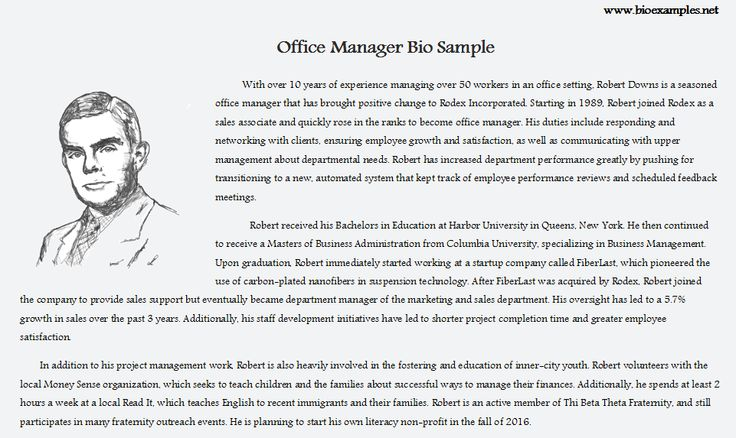 13 Best Bio Examples Images On Pinterest Sample Resume