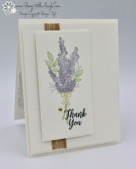 I used the Stampin' Up! Lots of Lavender stamp set from the upcoming Sale-a-bration Catalog and the Southern Serenade stamp set from the upcoming Occasions Catalog to create a quick thank you…