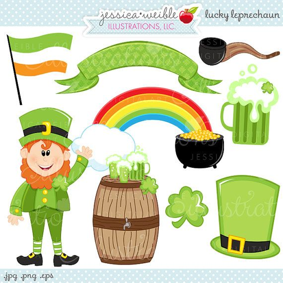Lucky Leprechaun Cute Digital Clipart - Commercial Use OK - St. Patricks Day Graphics, St. Patricks Day Clipart