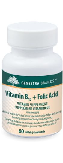 Vitamin B12 + Folic Acid by Genestra is a synergistic combination of these two essential nutrients in a convenient tablet format. Helps reduce the risk of neural tube defects when taken daily prior to becoming pregnant and during early pregnancy. A factor in the maintenance of good health and helps to form red blood cells. Helps the body to metabolize carbohydrates, fats and proteins. Helps to prevent vitamin B12 and folate deficiencies.