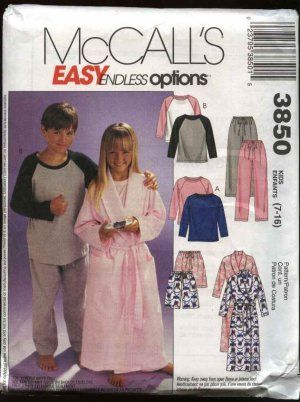 McCall's Sewing Pattern 3850 Boys Girls Size 7-16 Robe Pajamas Pullover Top Pull On Pants