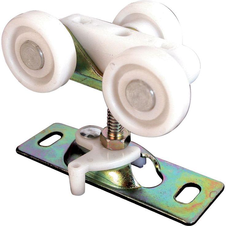 "Pocket door roller For use with pocket doors, sliding doors and bi-flooding doors Top mount Nylon wheels Steel mount 1"" Carded Material: Plastic Finish: Textured Color: Steel."