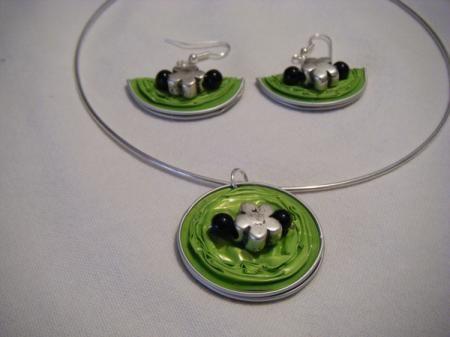 conjunto pistacho con flor - capsulas nespresso collar y pendientes nespresso nespresso  aluminio manualidades