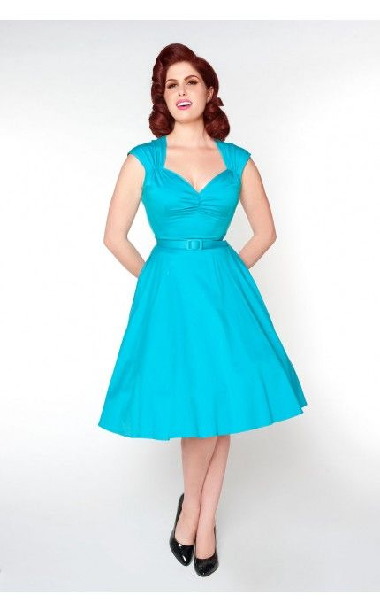 Heidi Dress in Bright Blue - Dresses - Clothing | Pinup Girl Clothing