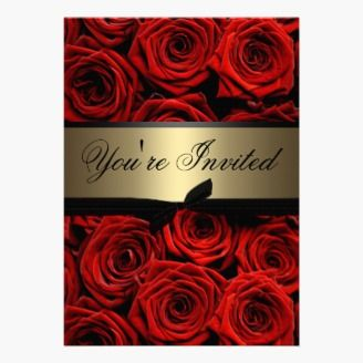 Red Roses Wedding Invitation in Black on Gold