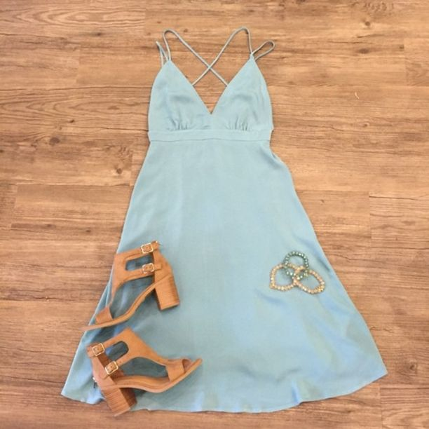 """80 degree weather next week come get this new dress! Add our """"Allure"""" Tan Booties and your outfit is done. #ApricotLaneAugusta #shopALB #AugustaMall #BloomBabyBloom #ALBSpringStyles"""
