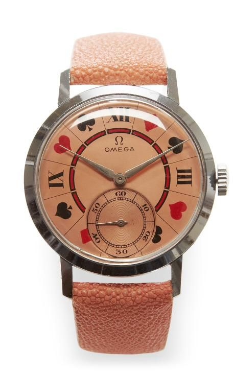 Pink Metallic Suits Painted Face Vintage Omega Watch by CMT Fine Watch and Jewelry Advisors for Preorder on Moda Operandi