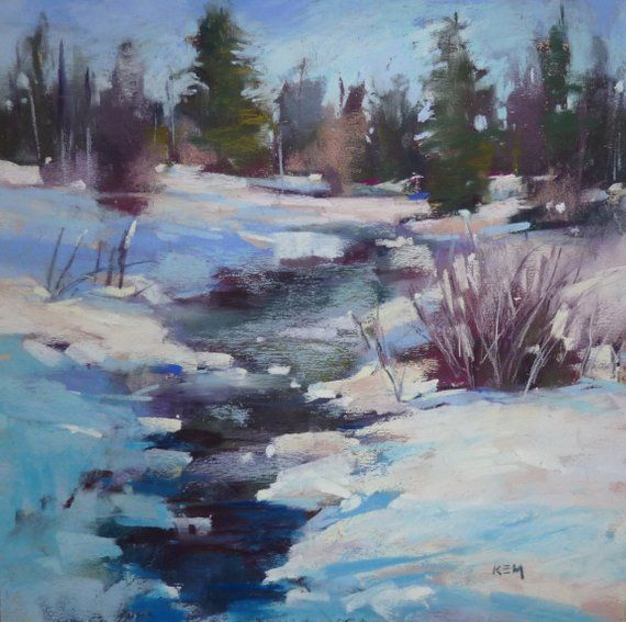 Items Similar To Winter Snow With River Landscape Original Pastel Painting 10x10 By Karen Margulis Psa On Etsy Winter Landscape Pastel Landscape Landscape Art