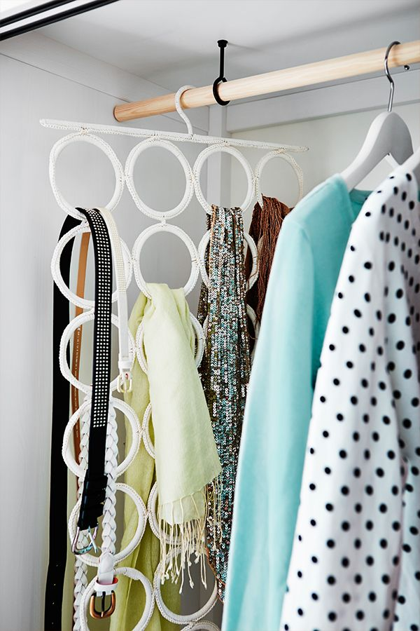 The KOMPLEMENT multi-use hanger takes as little room as one clothes hanger, but can store at least 28 different accessories, and that's perfect for small dorm closets.