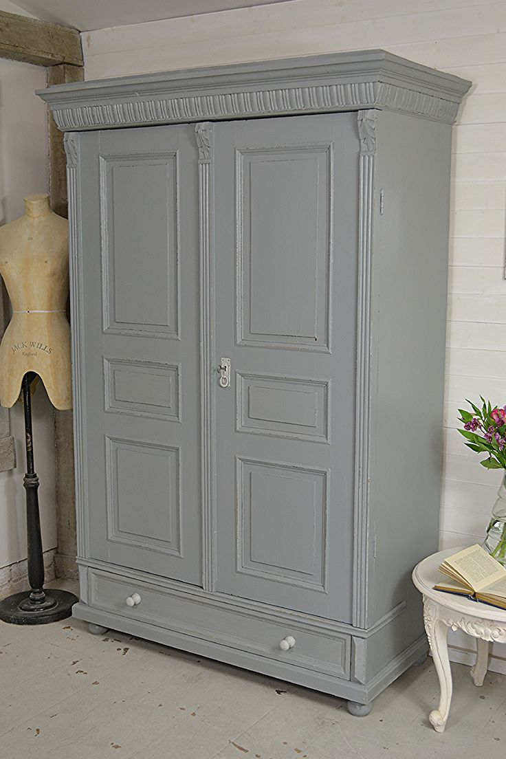 #letstrove This gorgeous panelled shabby chic wardrobe will make the perfect addition to any bedroom! We've painted in Little Green Grey Teal and lightly distressed, finishing with clear wax. All items with FREE UK DELIVERY!! https://www.thetreasuretrove.co.uk/bedroom-storage/large-dutch-shabby-chic-wardrobe-with-drawer