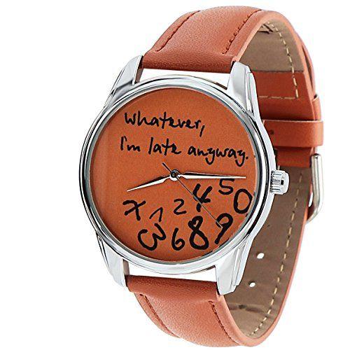 *The ORIGINAL* ZIZ Orange Whatever, I'm Late Anyway Watch Unisex Wrist Watch, Quartz Analog Watch with Leather Band ZIZ http://www.amazon.com/dp/B00NRUZQ72/ref=cm_sw_r_pi_dp_OiU1vb10STNF3