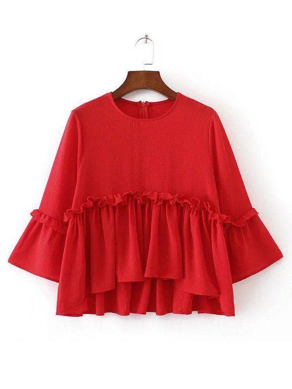 'Eliza' Black / Red Peplum Blouse
