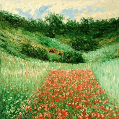 """""""Poppy Field in a Valley near Giverny"""" by Claude Monet :"""