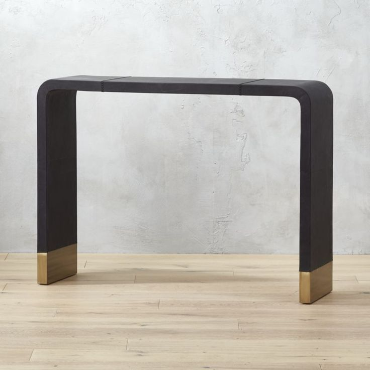 Shop Tyler Leather Console Table With Stitch Detail.   Console takes a u-turn as a chic staple for the entry.
