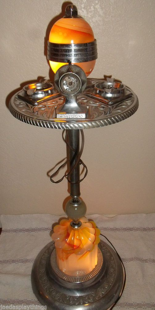 Mico Smoking Stand Ashtray Lighter With Lights Tested And