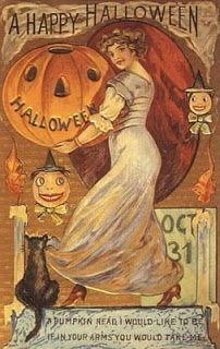 vintage-halloween-pumpkin-woman-black-cat.