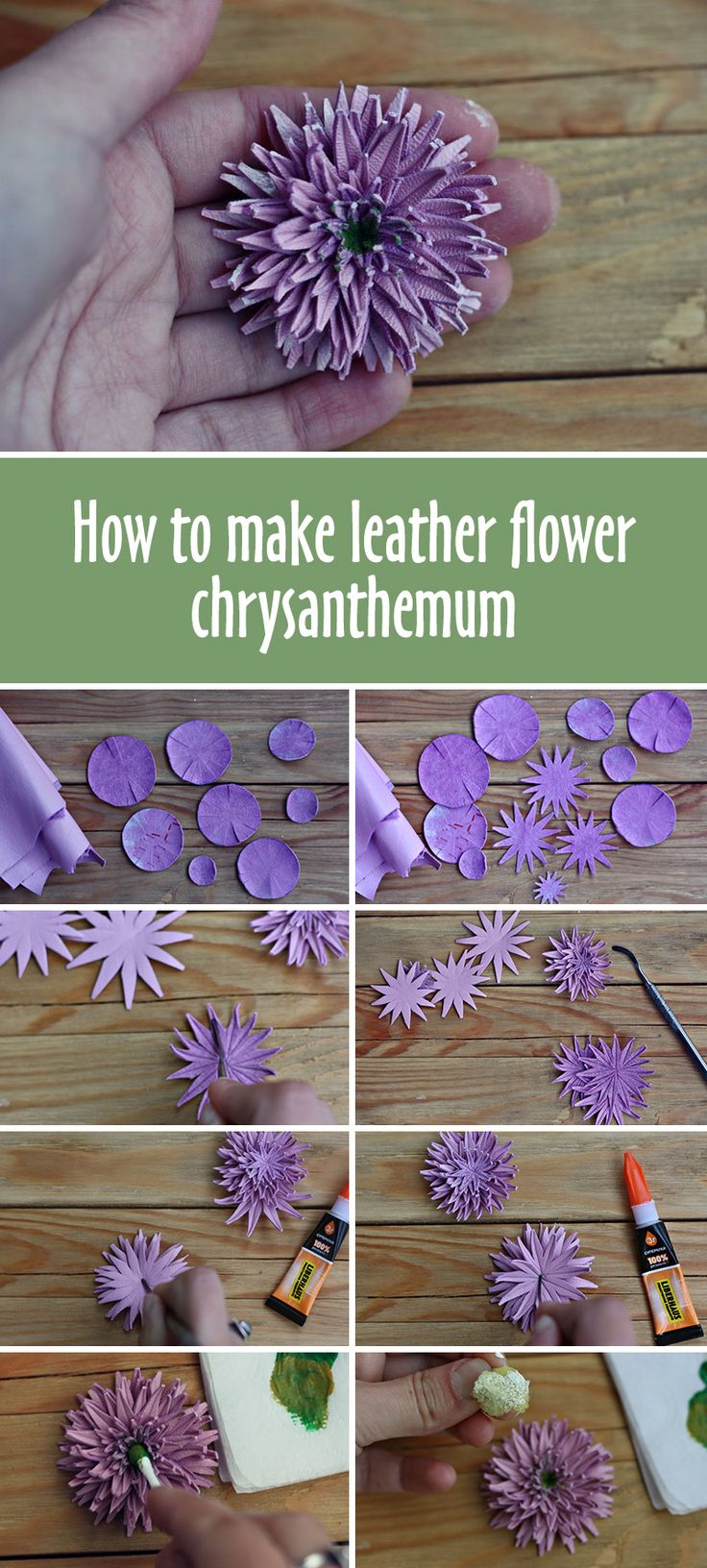 How to make leather chrysanthemum flower