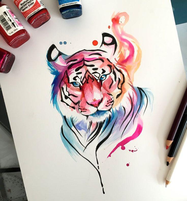 204- Watercolor Tiger Design by Lucky978.deviantart.com on @DeviantArt