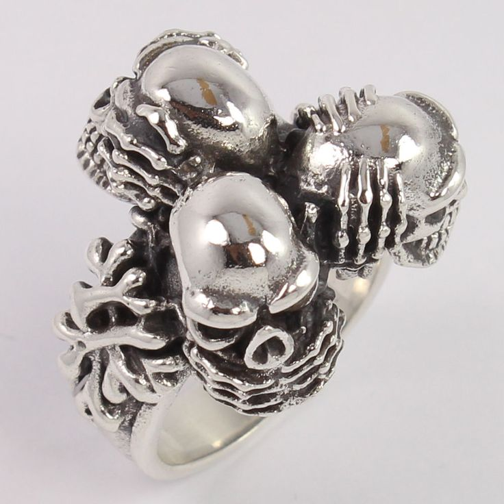 FS 925 Sterling Silver Multi Gothic Skull Bikers Ring Size US 9.5 Men's Jewelry #Unbranded
