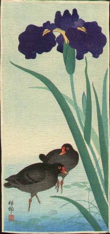 Moorhens and Iris by Ohara Koson