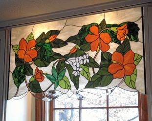 Stained glass valance, what a cute idea