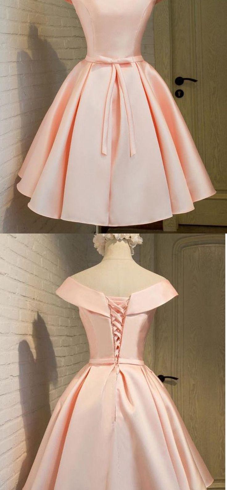 2017 Lace Up Cheap Pink Cocktail Dresses,1950s Vintage Hepburn Prom Dress,Blush Short Elegant Satin Homecoming Dresses,Sweet 16 Dresses,Homecoming Dress
