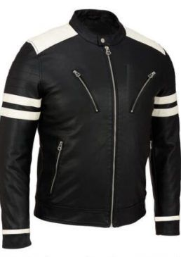 Black & White Biker Leather Jacket