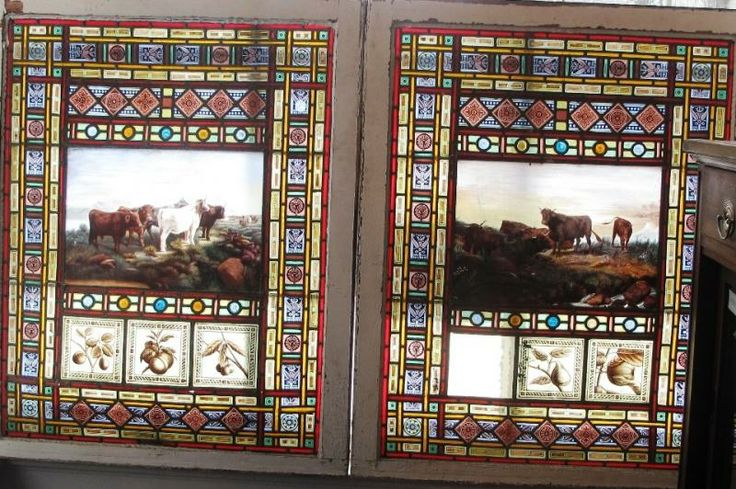 2 STAIN GLASS PAINTED WINDOWS BY HARRY HORWOOD PRECSCOTT ONTARIO  1885
