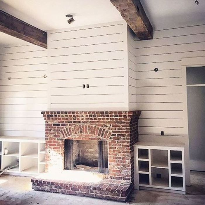 Shiplap Fireplace, Wood Beams And Brick