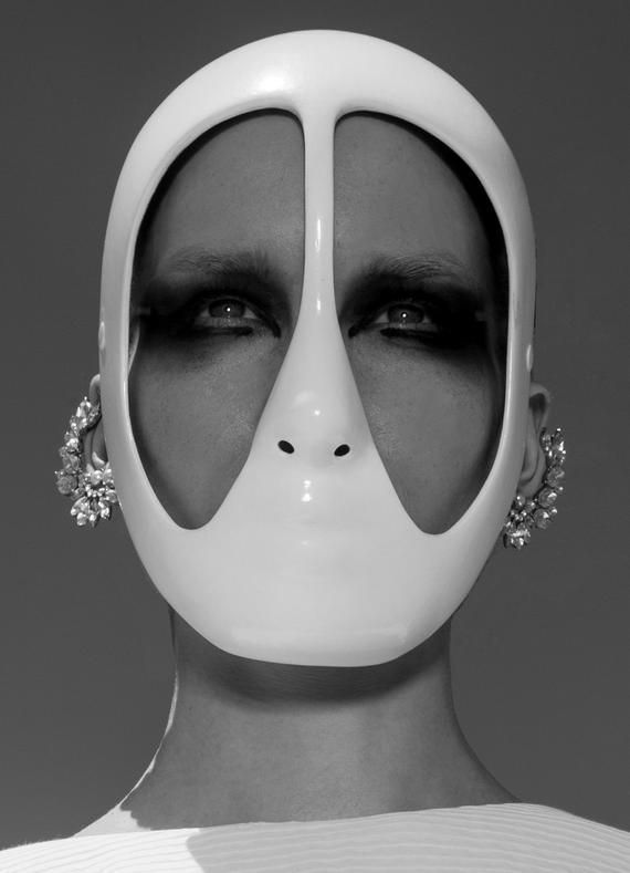 Fashion mask white black full face couture photo art ...